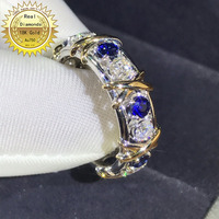 18k white gold ring Natural Real Sapphire and Diamond Ring Engagement&Wedding Jewellery have certificate 0024