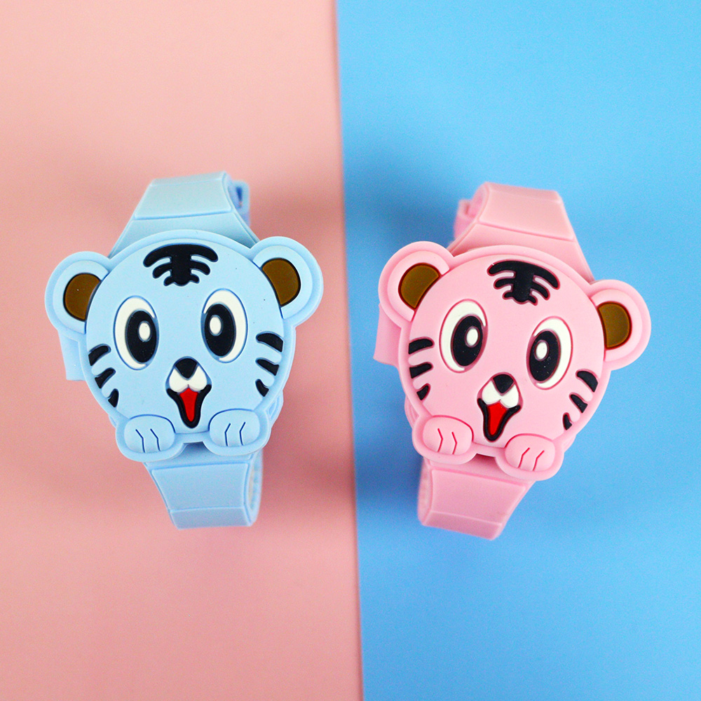 Lovely Silicone Cartoon Children Watches Girls Tiger Flip Cover Electronic Kids Watch for Boy Studen