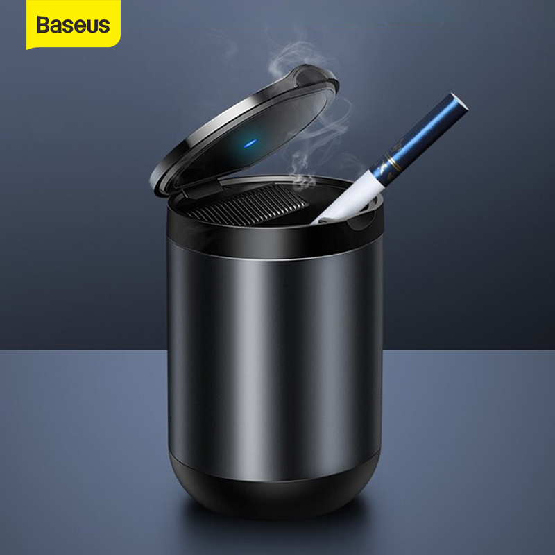 Baseus Car Ashtray LED Light Alloy Ash Tray Aluminum Cup Portable Smokeless Auto Ashtray Flame Retardant Cigarette Holder Box