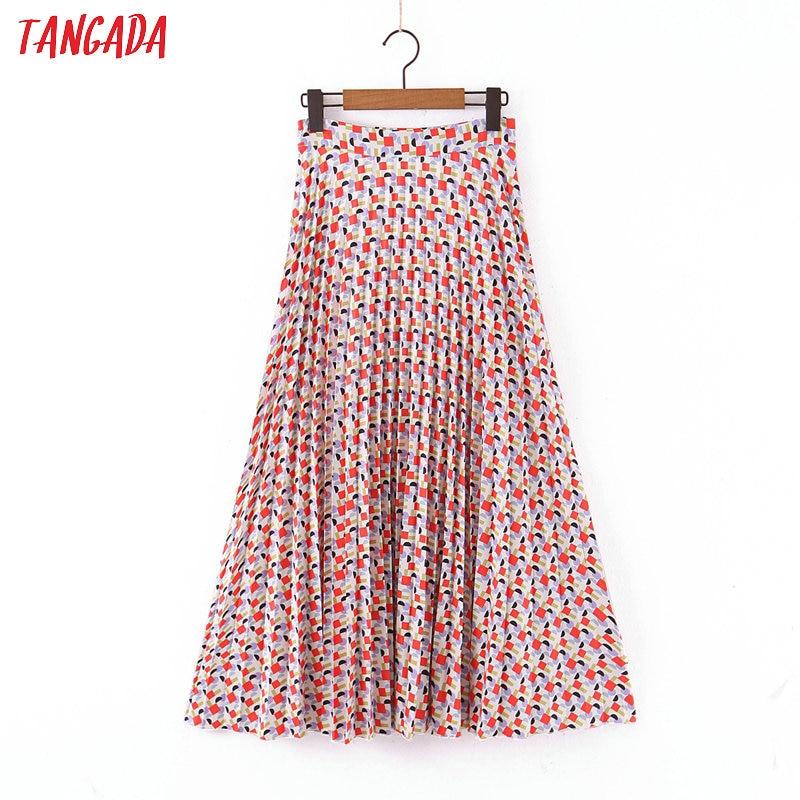 Tangada Women Print Pleated Midi Skirt Faldas Mujer Vintage Side Zipper Office Ladies Elegant Chic Mid Calf Skirts SL82