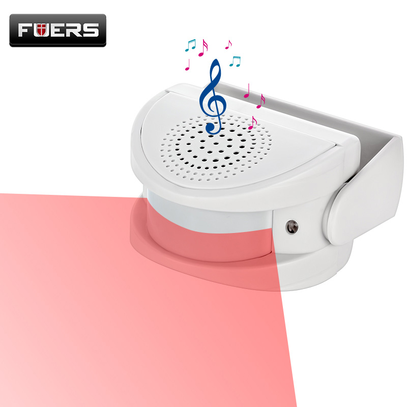 FUERS Wireless Guest Welcome Chime Alarm Door Bell PIR Motion Sensor For Shop Entry Company Security Protection Alarm Doorbell