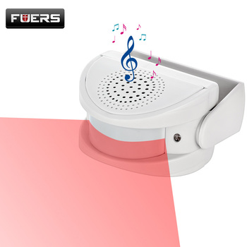 FUERS Wireless Guest Welcome Chime Alarm Door Bell PIR Motion Sensor for Shop Entry Company Security Protection Alarm Doorbell wireless infrared motion sensor door security bell alarm chime eu us plug