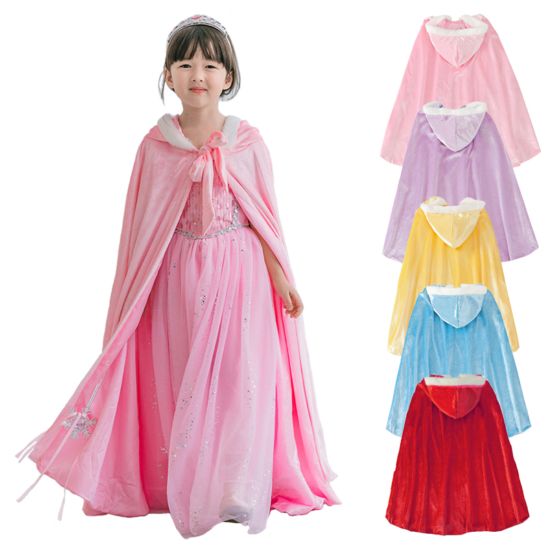 Winter Girls Velvet Princess Long Cloak Fancy Party Outfits Kids Cosplay Halloween Supplies Sofia Belle Elena Anna Hooded Cape