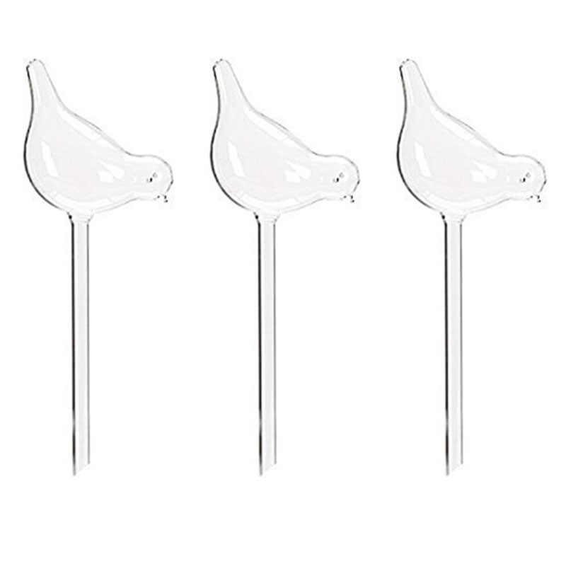 3 Pack Pianta Waterer di Auto Irrigazione Globi, Forma di Uccello Soffiato A Mano In Vetro Trasparente Aqua Lampadine