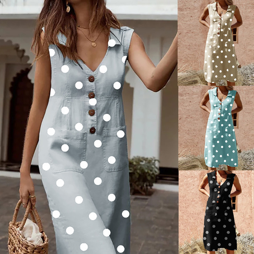 5XL Plus Size Elegant Women Dress Dot Print Boho Dress V-neck Sleeveless Dress Button Pocket Dresses Women Clothes