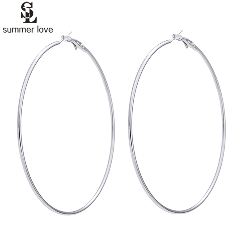 Fashion Gold Silver Color Round Creole Earrings Super Big Circle Hoop Earrings For Women Party Statement Jewelry