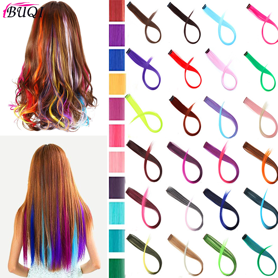 Color Clip-In Hair Accessories Hair Extensions Long Synthetic Hair Single Piece Pure Color High Temperature Fiber Hair Extension