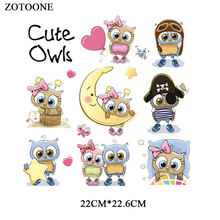 ZOTOONE Iron on Cute Owl Patches for Clothing Applique Printed Stickers DIY Embroidered Cartoon Patch Heat Transfers Kids G