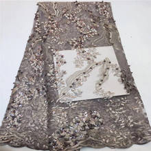 Африканский блесток кружевной ткани высокого качества французский тюль кружева в персиковом цвете заводская цена для женщин платье 5 ярдов/lotPLN-027