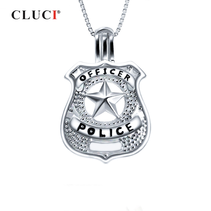 CLUCI Resl Silver 925 Sterling Cage Pendant For Pearl Jewelry Making Pendant US Police Star Shape Silver 925 Cage Pendants