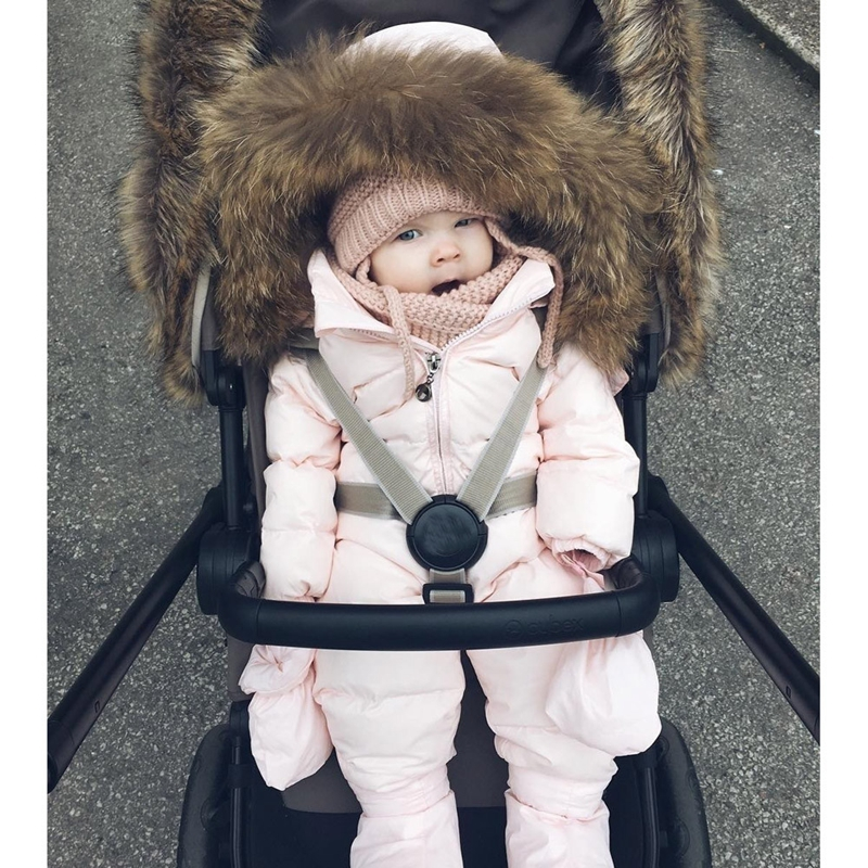 Winter Overalls Jumpsuit Outfit Baby Boy Girl Down Jacket Hooded Warm Thick Plush Belt Coat Newborn Boys Girls Clothes Outerwear