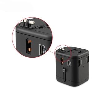 Image 4 - Adaptador de viaje internacional, enchufes multienchufe, 2 fusibles, protección, adaptador Universal, salidas, Cargador USB Dual, puertos de carga tipo C