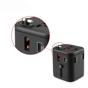 Image 4 - Uluslararası seyahat adaptörü çoklu fiş prizler 2 sigorta korumak evrensel adaptör çıkışı çift USB şarj tipi C şarj portları