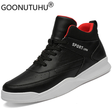 2019 fashion men's shoes casual genuine leather male flats sneaker height increasing black white shoe man platform shoes for men forudesigns women fashion high top flats shoes cool skull design female height increasing platform shoes for teenage girls shoes