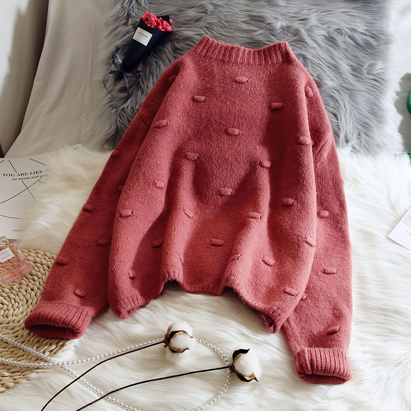 knitted women sweater and pullovers 2019 autumn winter new solid loose all match o-neck thicken warm pulls outwear tops