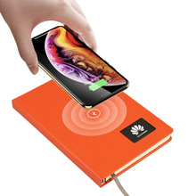 10000mAh Large Capacity Power Bank Notebook Logo Display Wireless Charging Leather Hardcover Power Bank Notebooks For Office