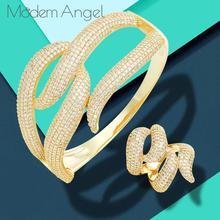 Jewelry-Sets Dubai Cubic-Zirconia-Bangle/ring Nigerian Modemangel 2PCS Bamboo Women