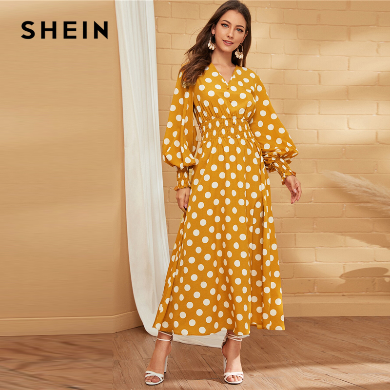 SHEIN Yellow V Neck Polka Dot Button Front Shirred Waist Dress Women's Shein Collection