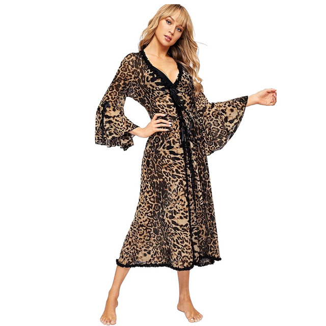 여성 섹시한 목욕 가운 레오파드 기모노 겨울 가을 캐주얼 잠옷 메쉬 나이트웨어 우아한 욕실 스파 가운