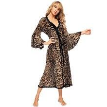 Sexy Áo Choàng Tắm Da Báo Kimono Mùa Thu Đông Cổ Đồ Ngủ Lưới Váy Ngủ Sang Trọng Phòng Tắm Spa Áo Dây