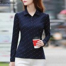 100% Cotton Polo Shirt Women Long Sleeve Shirt Office Work Wear Lady 2020 Spring Autumn Polka Dot Top Female Slim Plus Size G8