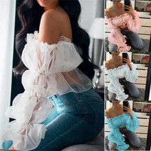 2019 New Women Cropped Tops Sheer Mesh Casual T shirts Puff Sleeve Party