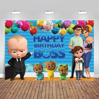 Little Men Boss Baby Birthday Party Backdrop for Photo Studio Blue Theme Balloons Flag Photography Backgrounds 7x5FT Vinyl - discount item  37% OFF Camera & Photo