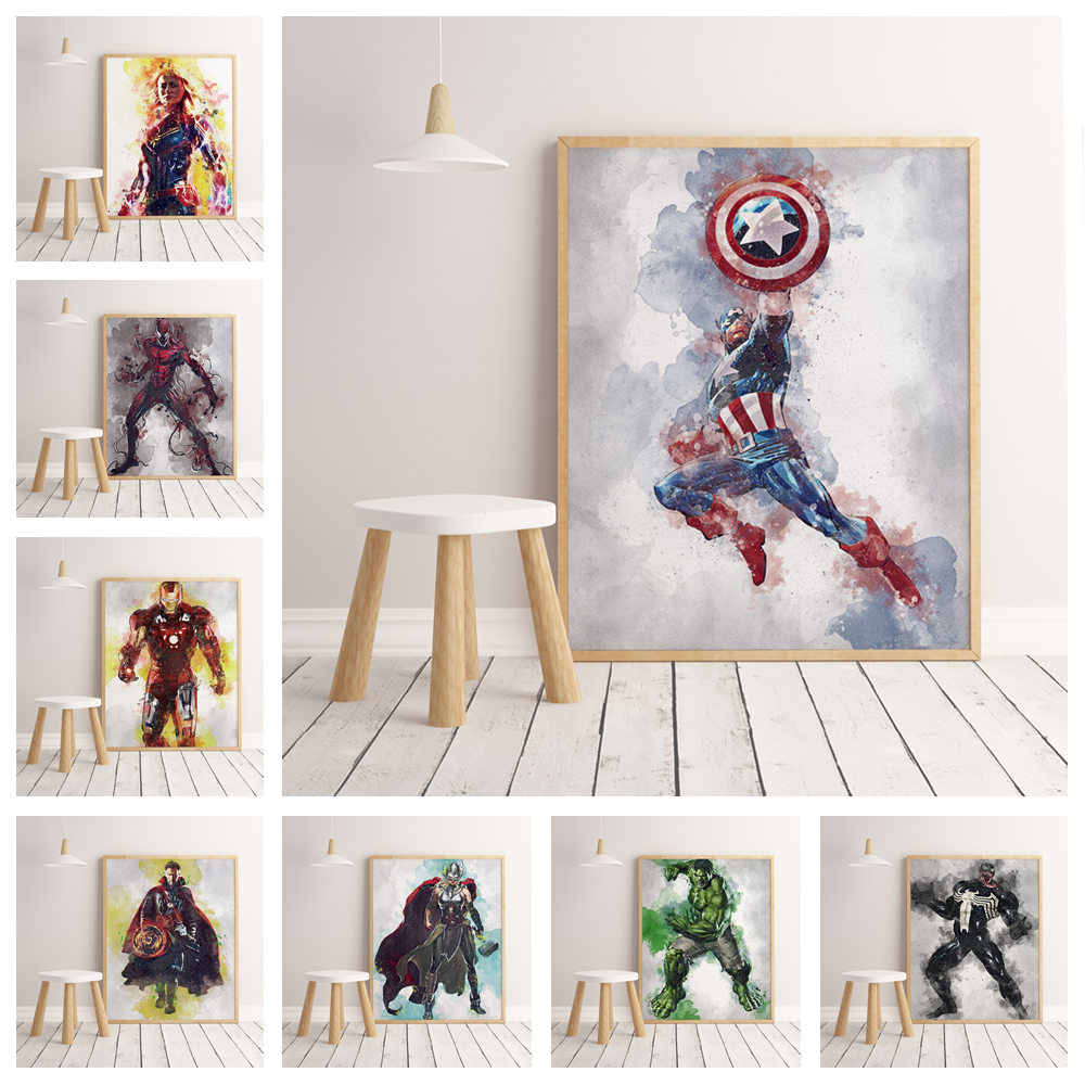 Marvel Avengers United States Captain Iron Man Family Watercolor Decorative Painting Poster wall art hight quality home Decor