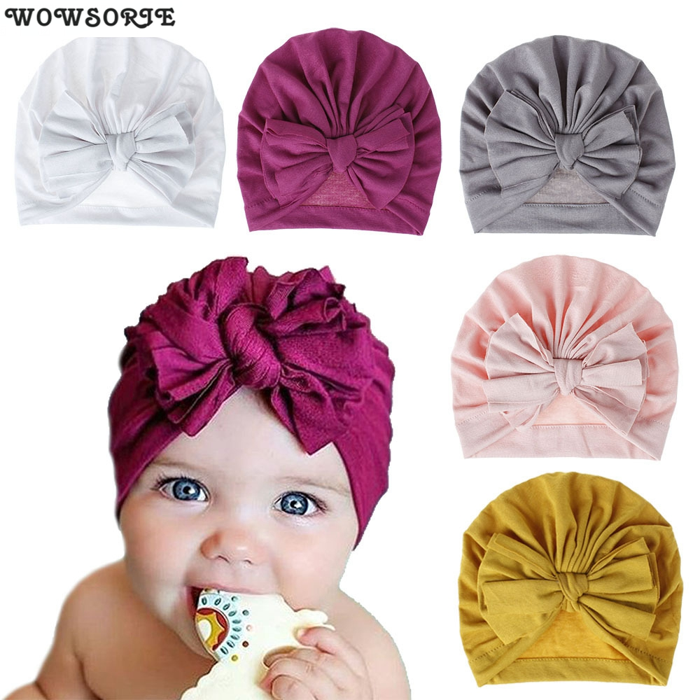 Baby Caps Turban Toddler Spring Bow Hat Kids Girl Lovely Cotton Cap Candy Color Newborn Photography Props Accessories Soft Hat