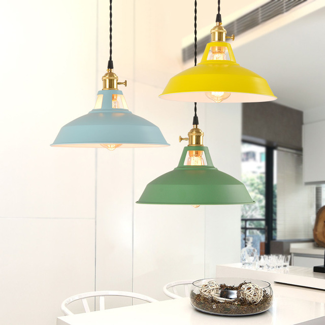 Retro  Industrial style Colorful Restaurant kitchen home lamp Pendant light  Vintage Hanging Light lampshade Decorative lamps 3