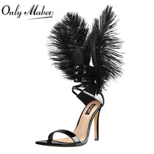 Onlymaker Women Black Feather Back Stiletto 10CM High Heels Single Band Lace Up Sandals Pointy Toe Party  Sexy Dress Lady Shoes viisenantin hot sexy ankle long feather lady t show summer sandal shoe bandage lace up pointed toe black white red feather