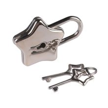Metal Star Shape Padlock with Key Closure Security Lock for Diary Purse Handbag