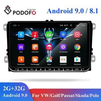 Podofo 2 Din Android 8.1 Car Multimedia Player GPS Radio For VW Volkswagen Golf Polo skoda rapid octavia Radio Tiguan Passat b7