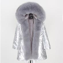 2019 Donne Cappotto di pelliccia Reale di modo naturale reale della pelliccia di fox del collare allentato lungo parka grande collo di pelliccia della tuta sportiva Staccabile giacca invernale