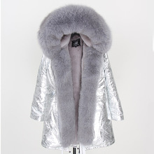 2019 Women Real fur Coat fashion natural real fox fur collar loose long parkas big fur outerwear Detachable winter jacket
