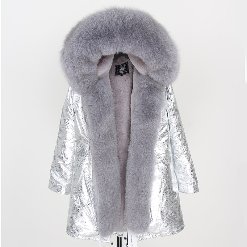 2019 Women Real fur Coat fashion natural real fox fur collar loose long parkas big fur outerwear Detachable winter jacket title=