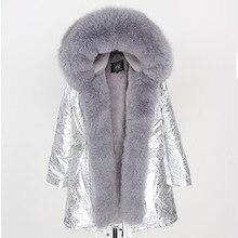 2019 kadınlar gerçek kürk ceket moda doğal gerçek tilki kürk yaka gevşek uzun parkas büyük kürk giyim ayrılabilir kış ceket