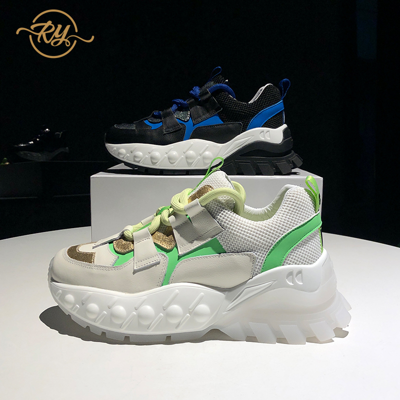 RY-RELAA women sneakers fashion Genuine Leather  white sneakers 2020 springtime new style women casual shoes wedge sneakers ins