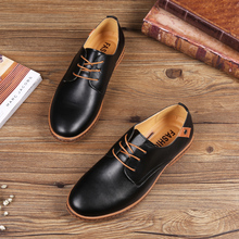 2019 Casual Men Leather Shoes Lace-up Men Flats Round Toe Office Male Dress Shoes Plus Size 38-48 Oxfords Shoes Comfortable цена 2017