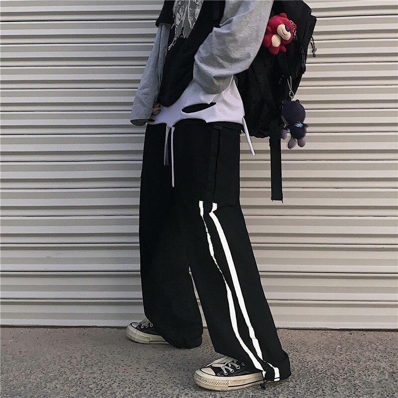 Focal20 Streetwear Dark Neon Stripe Women Jogger Pants High Waist Drawstring Female Trousers Wide Leg Loose Autumn Lady Bottoms