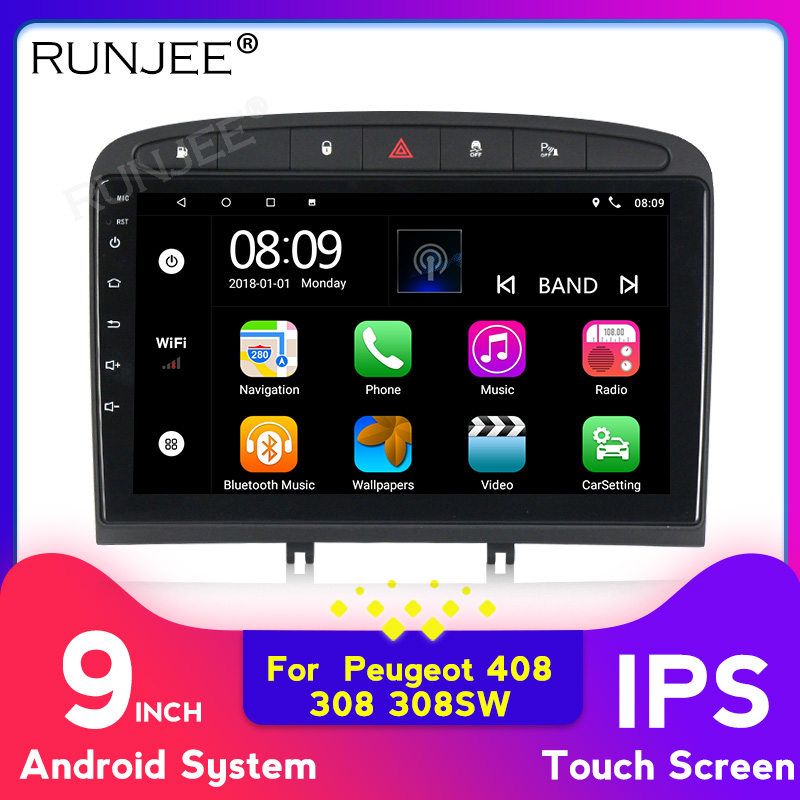 9 Inch IPS Android 9  Car DVD Multimedia Player For Peugeot 308 408 2010-2016 Stereo Navigation Support BT WIFI OBD