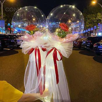 Diy Led Light z różanymi balonami urodziny dzień matki prezent dekoracje ślubne jasne kulki Led Luminous balon bukiet róż tanie i dobre opinie HAIMAITONG CN (pochodzenie) ROUND Ślub i Zaręczyny Chrzest chrzciny Na Dzień świętego Patryka Wielkie wydarzenie