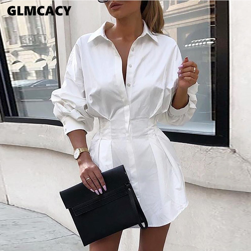 Women Elegant Classy Turn Down Collar  Waist Slim Button Ol Office Streetwear Fashion Spring Autumn Solid Shirt Dresses
