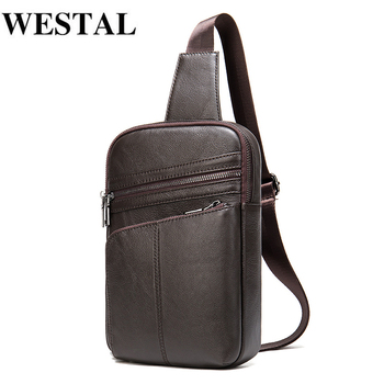 WESTAL Men's Bag Genuine Leather Messenger Bag Men Leather Shoulder Bags Man Male Chest Pack Sling / Crossbody Bags for Men qibolu genuine leather mens sling bag single shoulder bag men chest pack messenger crossbody bag for man bolsas masculina mba37