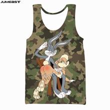 Jumeast marka mężczyźni kobiety kamizelka z nadrukiem 3D Cartoon Anime Bugs Bunny kamuflaż z krótkim rękawem sportowy sweter letna koszulka topy Tees tanie tanio CN (pochodzenie) Suknem Na co dzień Drukuj vest Poliester O-neck tops Tank tops