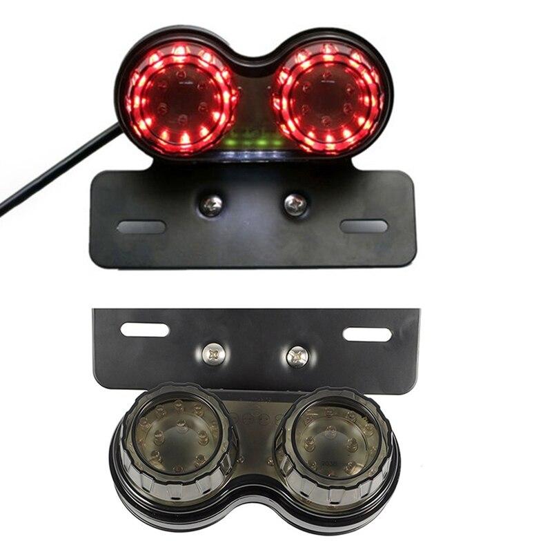 12V Dual LED Light Stop Motorcycle Light Generic Integrated Tail Light Twin Light Premium Brake Turn Signal Brake License Plate