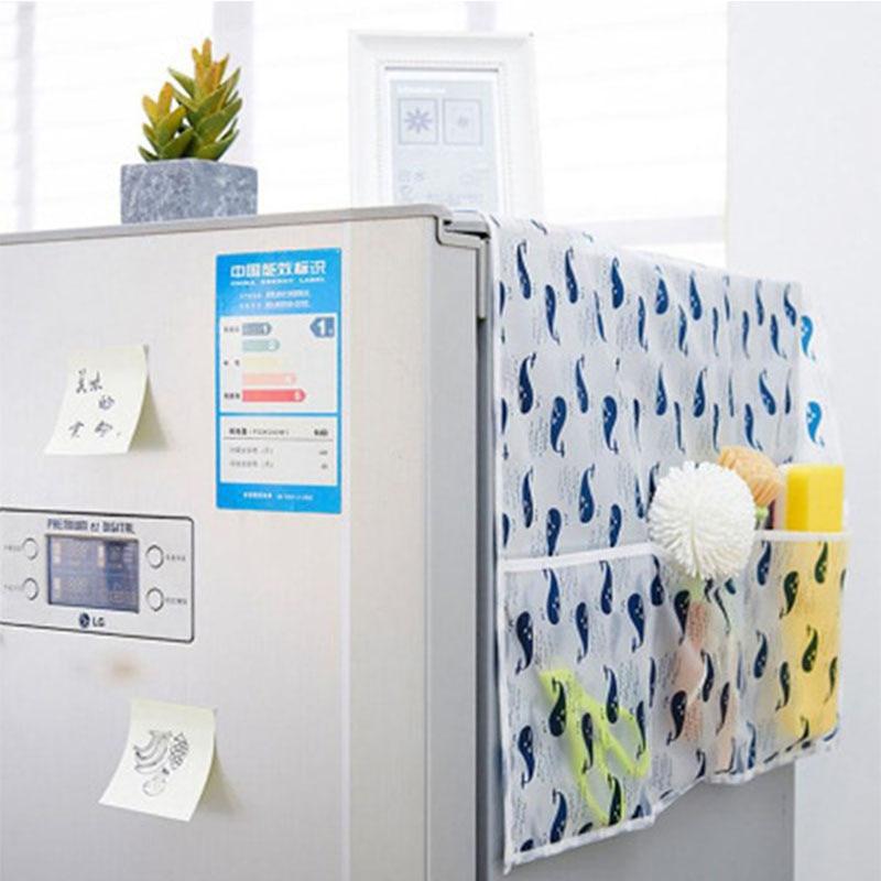 Refrigerator Dust Cover With Pocket Storage Bag Washing Machine Storage Organizer Bags Hanging Bag