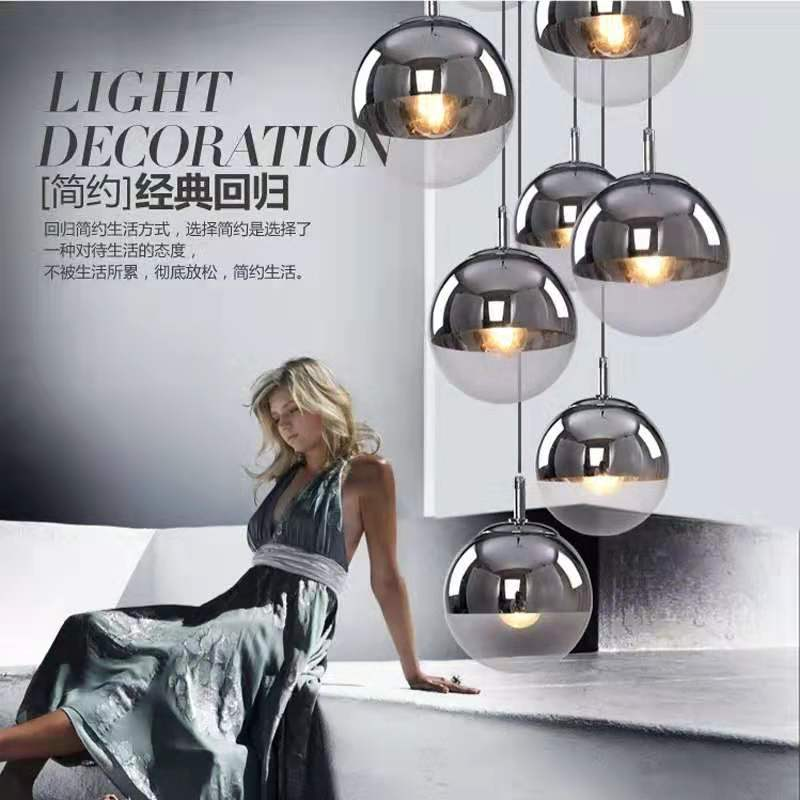 Nordic Modern LOFT Glass Pendant Lights Silver Gold Lighting Globe Ball Round LED Restaurant Pendant Lamp Bar Hotel Hanging Lamp