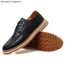 Mountain Conqueror Men Shoes Casual Microfiber Bullock Martins Leather Winter Waterproof Ankle Botas hombre