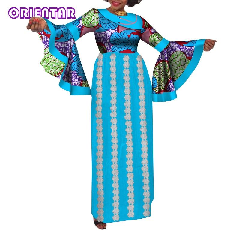 Fashion Flare Sleeve African Dresses For Women Autumn Elegant Long Dress Print Cotton Maxi Dress Private Custom Plus Size WY1295